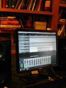 A Reaper project open, on my old PC, set up in my parents' library while I was tracking rhythm guitars for